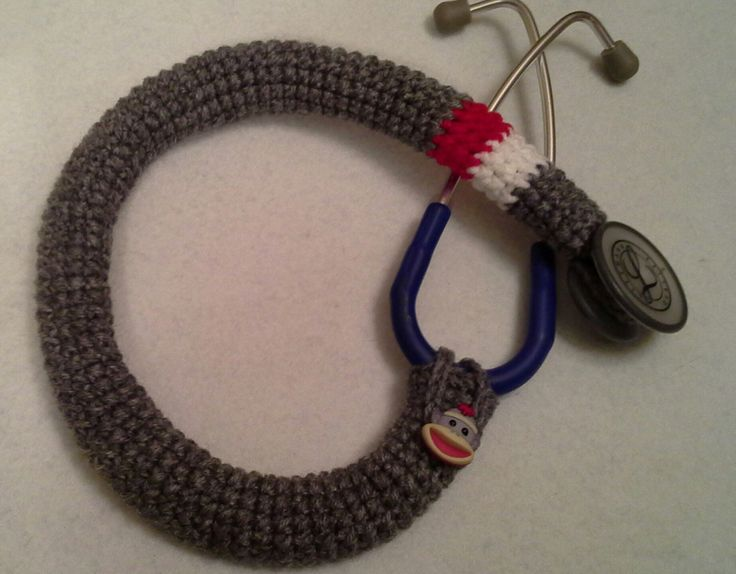 Gray Striped Sock Monkey Button Stethoscope Cover, Nurses Stethoscope Covers, LPN, RN, CNA, medical fashion accessories, crochet by BeadnNeedles on Etsy https://www.etsy.com/listing/200963333/gray-striped-sock-monkey-button