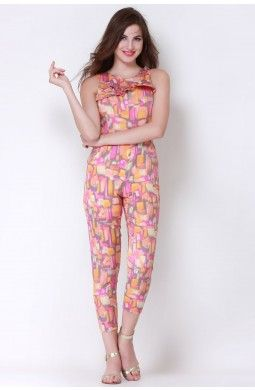 Cool Multi Brush Stroke Jumpsuit  The blend of colors and the superb fit of the jumpsuit makes it a hit for the season that every girl must posses. All that you need with this jumpsuit are a pair of high heels to head out for the party.