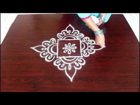 beginners kolam designs with 3x3 dots- muggulu designs for beginners- easy rangoli designs with dots - YouTube