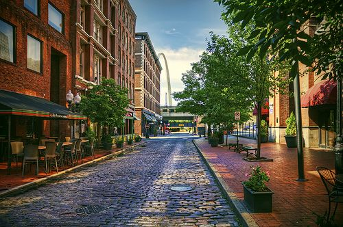 'Laclede's Landing' ~ St. Louis, MO - you can just see the Arch peeking around that far building