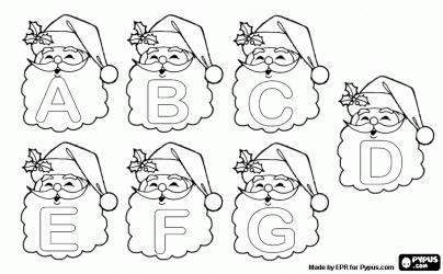 Pintar Alfabet de Nadal, lletres de Pare Noel. Majúscules de la A a la G a la barba de Santa Claus