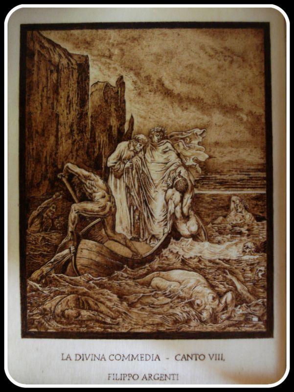 """""""Filippo Argenti""""; #Illustrazione #Inferno di #Dante di Simone Naldini #artigianato #pirografia #DivinaCommedia http://omaventiquaranta.blogspot.it/2013/11/linferno-dantesco-di-simone-naldini.htm"""