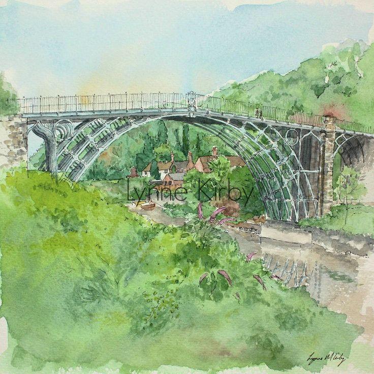 Iron bridge landscape Mounted watercolour art Print Kirby river severn historic