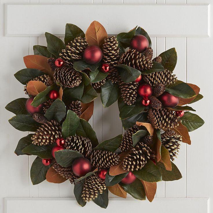 Oversized Faux Magnolia & Pinecone Wreath   Pier 1 Imports