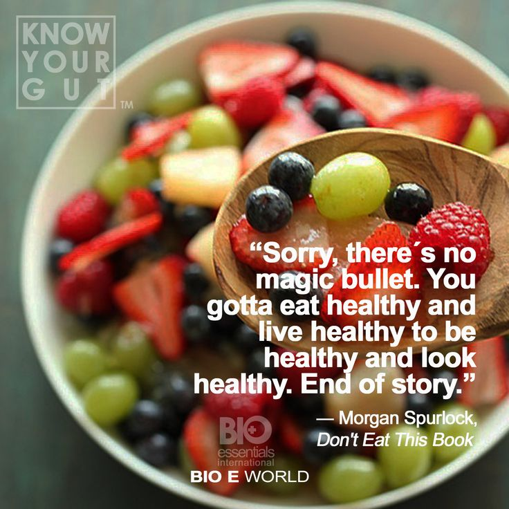 """""""Sorry, there's no magic bullet. You gotta eat healthy and live healthy to be healthy and look healthy. End of story."""" - Morgan Spurlock #food #health #probiotics #organic #biogenics #biogenicsmd #kahokoso"""