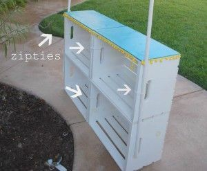 Zip Tie Config for crate stand - for lemonade stand. The boys are having a lemonade stand Saturday at the community sale. This will be good to remember for next time.: