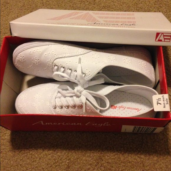 White American Eagle shoes BRAND NEW Shoes are a non-mark sole. They have been worn once. Nothing is wrong with them, they are brand new American Eagle Outfitters Shoes Sneakers