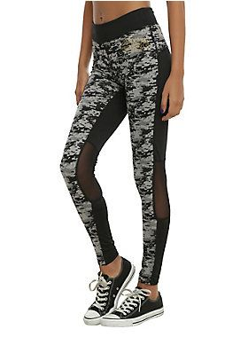 <p>Black leggings from <i>Star Wars</i> with a Power of War design, mesh knee panels and logo below the waistband.</p>  <ul> <li>90% polyester; 10% spandex</li> <li>Wash cold; hang dry</li> <li>Imported</li> <li>Listed in junior sizes</li> </ul>
