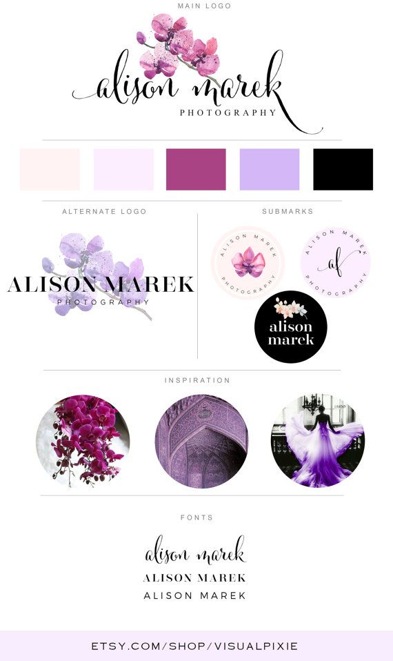 Branding Package - Watercolor Purple Pink Orchid Logo Photography Logo Makeup Artist Logo Event Planner Logo Fashion Blog Boutique Business This premade Branding Package Logo Design Kit is a perfect solution to professionally brand your business for an affordable price. A full package is included for the price listed! I dont charge additional fees for any additional files you need, like it is a practice with other designers…
