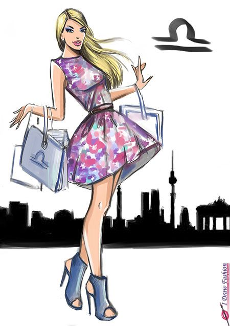 libra zodiac sign fashion illustration for horoscope