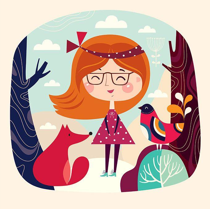 Удивительно красочное искусство печати с игривой девушки лисицы птицы и