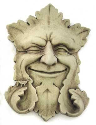 winking green man, love the curls of the beard