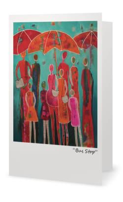 """""""Bus Stop""""5X7"""" Blank inside. Created from an original painting by Patt Scrivener, AFCA"""