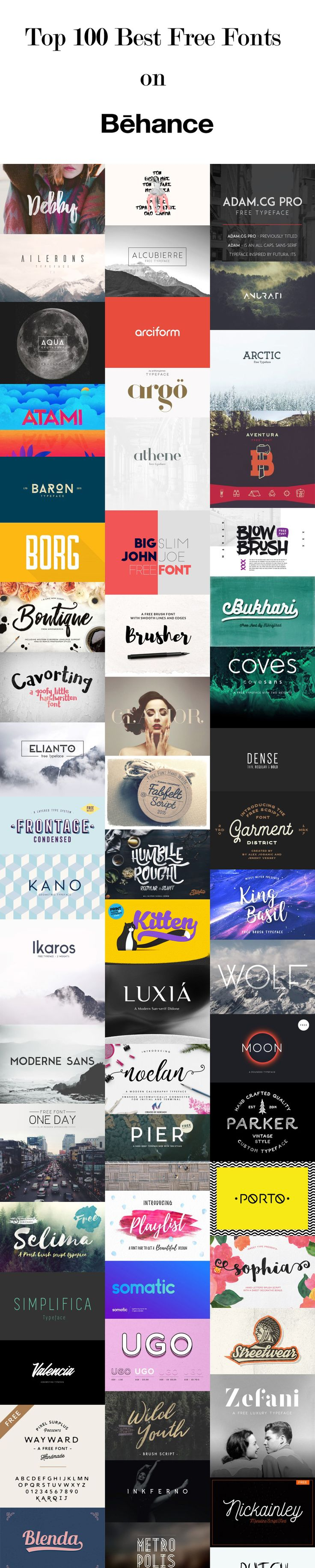 Top 100 Best #free  #fonts  on #behancewip  for #Designer  Everyone loves #freefonts , but finding high quality typefaces within the sea of amateur display fonts can be quite a challenge.
