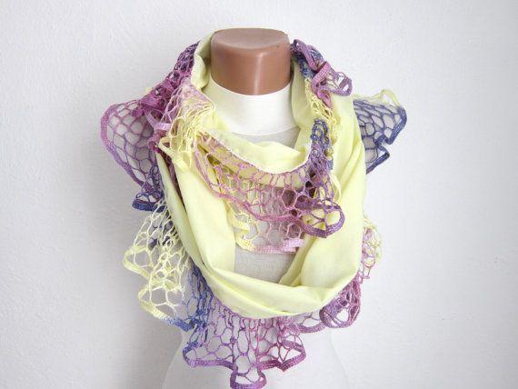 Variegated  fabric scarf infinity scarf Loop scarf by scarfnurlu