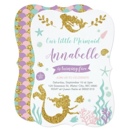 Mermaid Birthday Invitation - holiday card diy personalize design template cyo cards idea