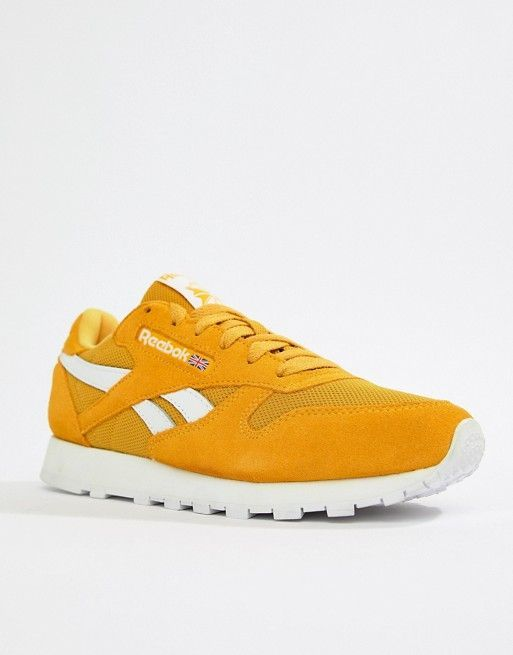 Reebok Yellow Classic Leather MU Sneakers in 2019  5d612ddd3