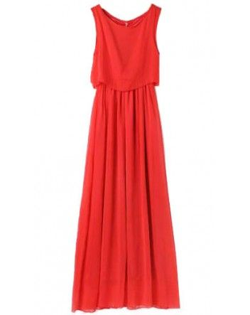 Red Bohenmia Pleated Princess Chiffon Maxi Dress