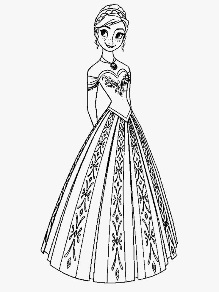 Frozen Coloring Pages Anna Princess