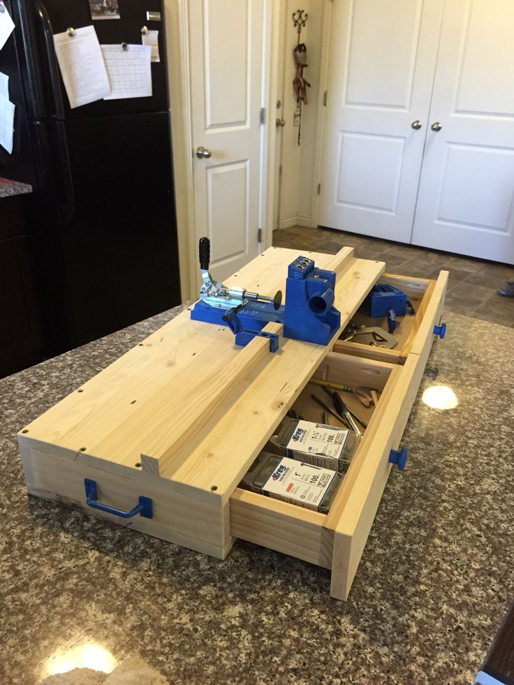 Custom Kreg Jig Work Station with two storage drawers and a carrying handle.