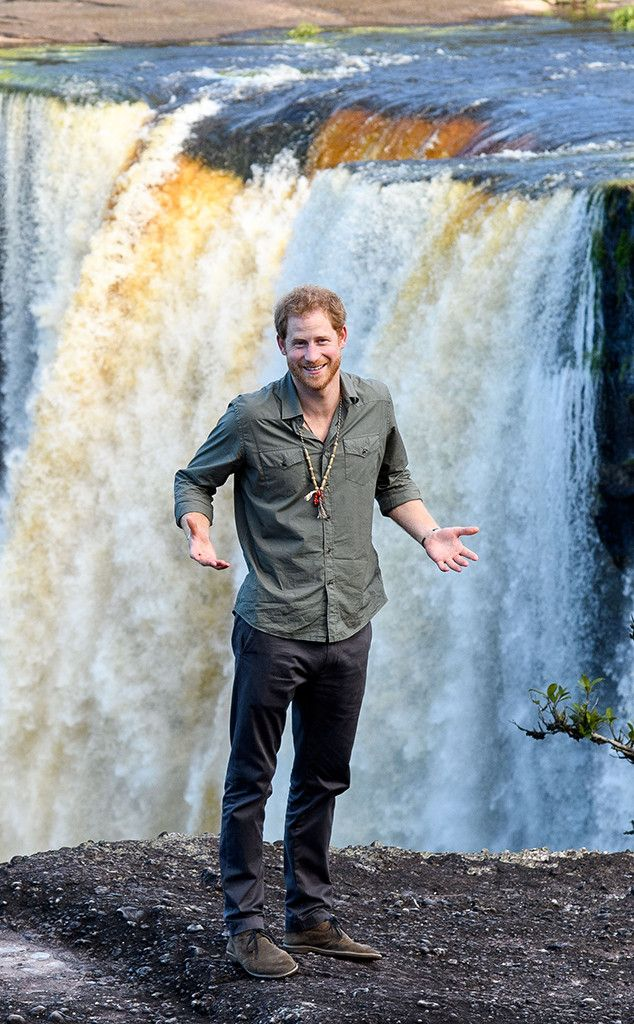 Prince Harry from The Big Picture: Today's Hot Pics  Nice view! The prince strikes a pose while visiting theKaieteur Falls in Guyana.