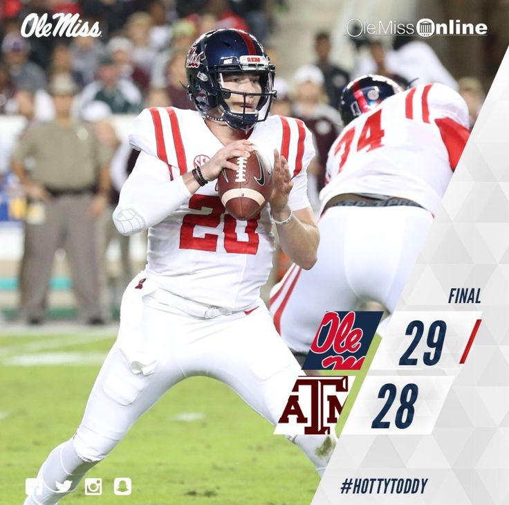 Ole Miss: 29 Texas A&M: 28 HOTTY TODDY!!! GO REBS!!!