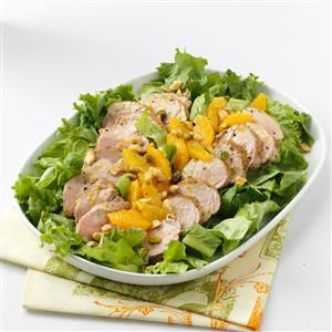 Grilled Tenderloin Salad Recipe -During our hot summers, I rely on salads. In this recipe, the pork is grilled so I can stay out of the kitchen.