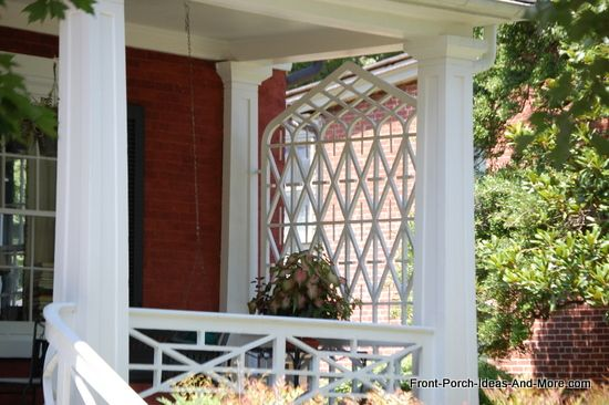 Great example of a lattice style porch privacy screen. From Front-Porch-Ideas-and-More.com #porch