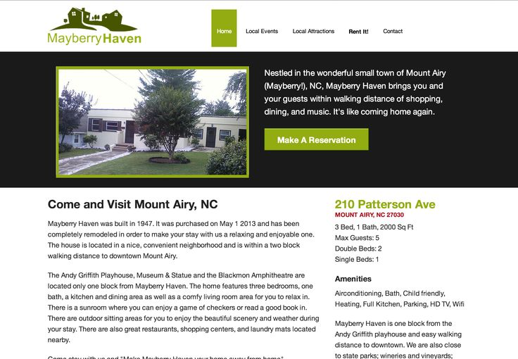 This was a new website design for a local rental home within Mount Airy. Another great client to work for.