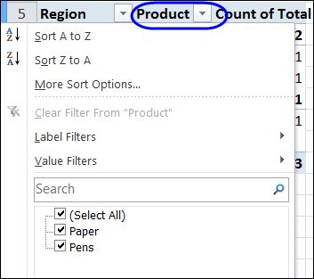 Hide these drop down arrows in a pivot table