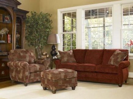 Wonderful Smith Brotheru0027s Of Berne: Living Room; Red Fabric Sofa And Chair U0026 Ottoman
