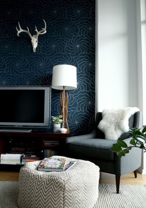 DIY Wallpaper (this is actually made from a stencil!) in Art director Amber Hampton's Chicago home