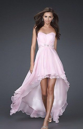 A-line Multi-layer Sweetheart High-low Beading Waistband Pink Homecoming Dress/Cocktail Dress /Prom Dress H202030