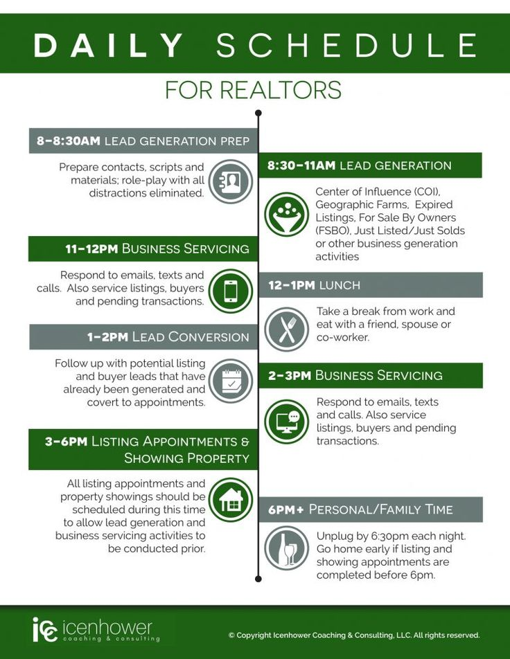 Top REALTOR Daily Schedule – InfoGraphic