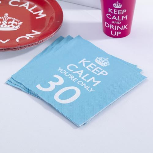 Keep calm 30th birthday napkins dirty 30 pinterest for 30th birthday party decoration packs