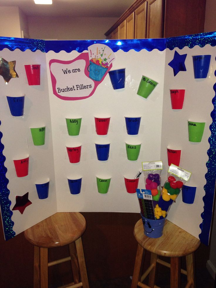 Teachers can use tri fold poster boards if you can't sacrifice a bulletin board! This is a bucket filler board for a kindergarten class :)