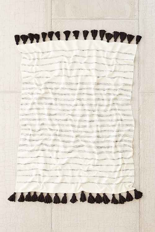 tassle black and white throw blanket