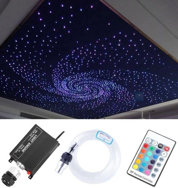 12v 16w Rgb Led Fiber Optic Star Ceiling Light Kit 260pcs 2m 0 75mm Home Car Star Lights On Ceiling Star Ceiling Ceiling Lights