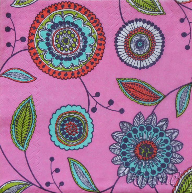 Купить 15шт салфетки для декупажа орнамент лубок цветы лето розов декупажный - декупажная карта