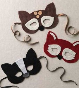 No Sew Woodland Masks... To complete critter costumes, add a T-shirt or sweatpants in appropriate colors, craft a tail from faux fur or thick felt and hot-glue black felt triangles to the tips of matching gloves for claws.
