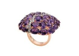 CASATO Gioielli- India Collection ring 18K pink gold ring set with amethysts and diamonds. (260×185)