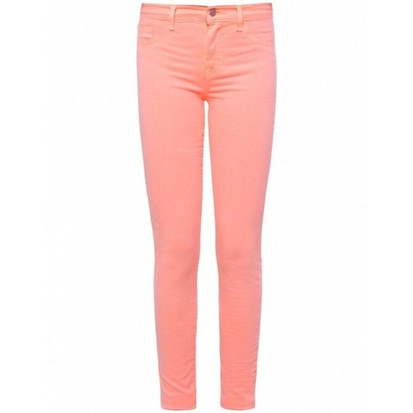 J Brand Skinny Neon Jeans (145 CAD) ❤ liked on Polyvore featuring jeans, pants, bottoms, pantalones, pink, red jeans, skinny jeans, denim skinny jeans, skinny leg jeans and button fly jeans