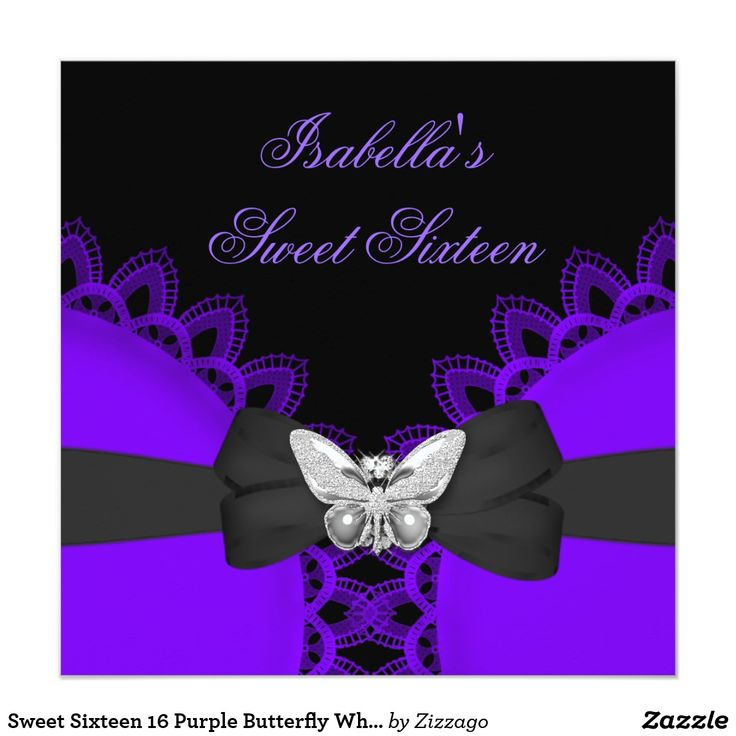Sweet Sixteen 16 Purple Butterfly White Lace Card Sweet Sixteen Sweet 16 Birthday Party Purple Silver Butterfly Bow White Lace Diamond Birthday Party Invitation Birthday Party. All Occasions Fabulous Elegant Events for Women, Girls, Party Invites for all ages, just customize to the age you want! 21st Birthday Party Invitations, 20th Birthday Party Invitations, 30th Birthday Party Invitations, 40th Birthday Party Invitations, 50th Birthday Party Invitations, 60th Birthday Party Invitations…