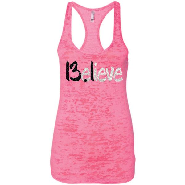 Believe 13.1 Half Marathon Running in Super Sparkly Glitter Burnout... ($28) ❤ liked on Polyvore featuring activewear, activewear tops, black, tanks, tops, women's clothing, pattern shirts, black shirt, activewear tank tops and sparkle shirt