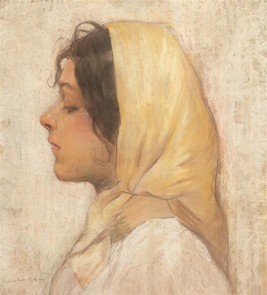 Peasant Woman with Yellow Headscarf - Luchian Stefan