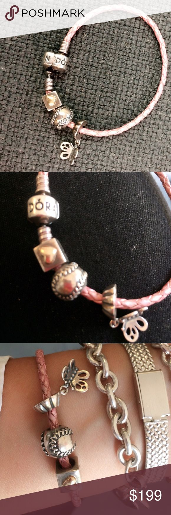 Authentic Pandora leather Pink bracelet W/ charms Pink rope bracelet a little bit worn but not noticeable. Comes with charms at 925 and a love box charm that has a 14k heart accent in 925 comboAS IS Pandora Jewelry Bracelets