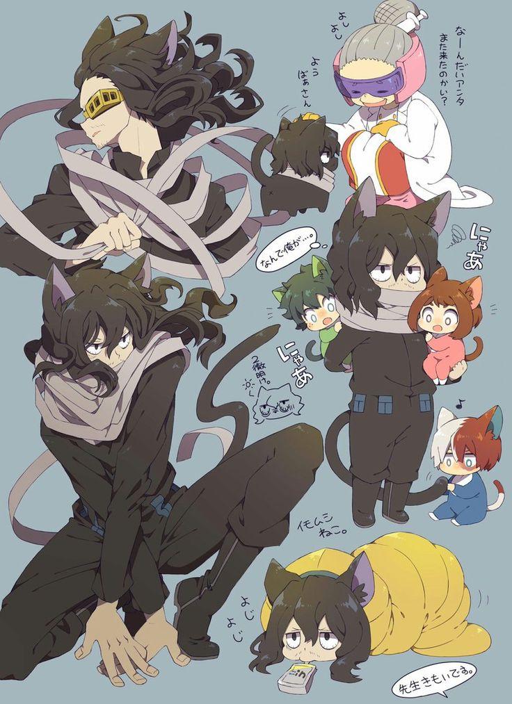 fanart of My Hero Academia (Boku No Hero Academia) Aizawa Shouta as a cat