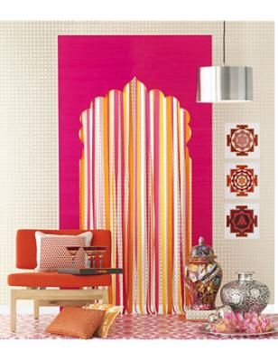 How to Make a Ribbon Curtain Known as the Pink City, India's Jaipur was the inspiration for this juicy mix of streaming mandarin-orange and raspberry grosgrain ribbon curtain.