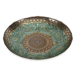 "16"" Elegant Peacock Blue and Gold Paisley Design Decorative Glass Bowl"