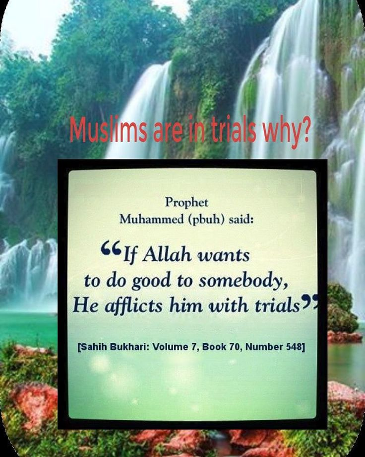 If Allah wants to do good to somebody. He afflicts him with trials.